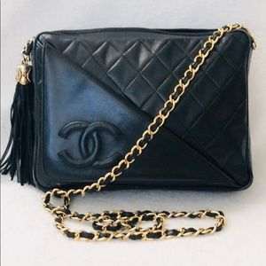 CHANEL Lambskin Quilted Camera Flap Chain Bag